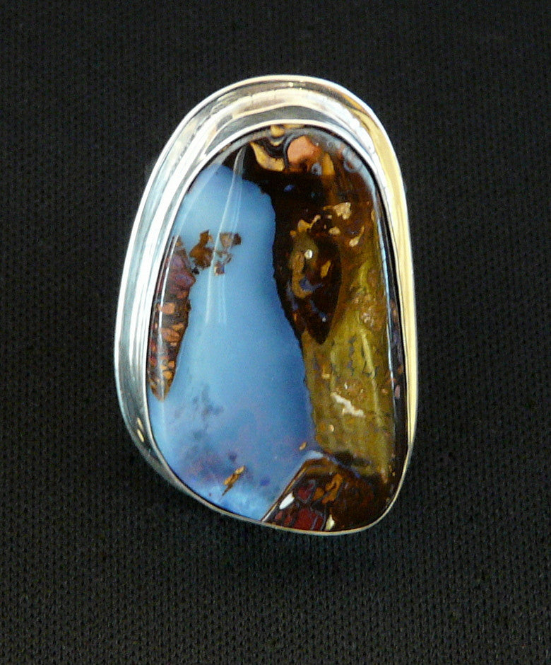 Blue African Pietersite and Sterling Silver Ring