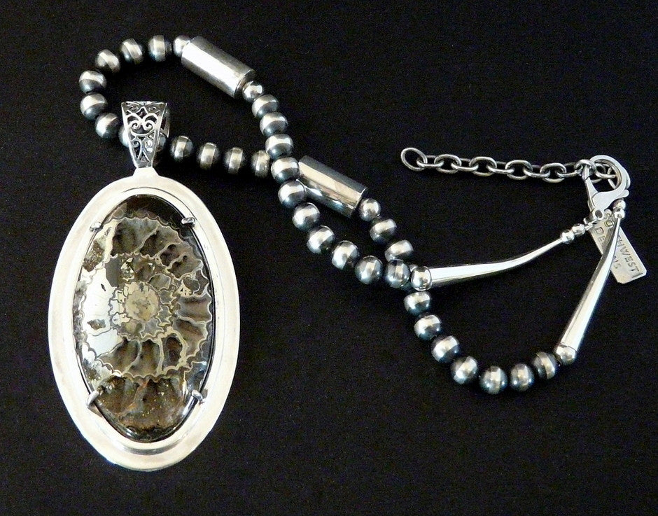Pyritized Ammonite and Sterling Silver Pendant with Sterling Chain