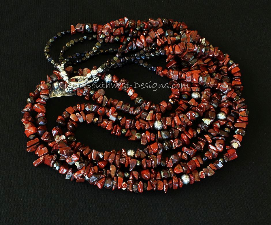Rainbow Brecciated Jasper Chip 4-Strand Necklace with Vintage Czech Glass and Sterling Silver