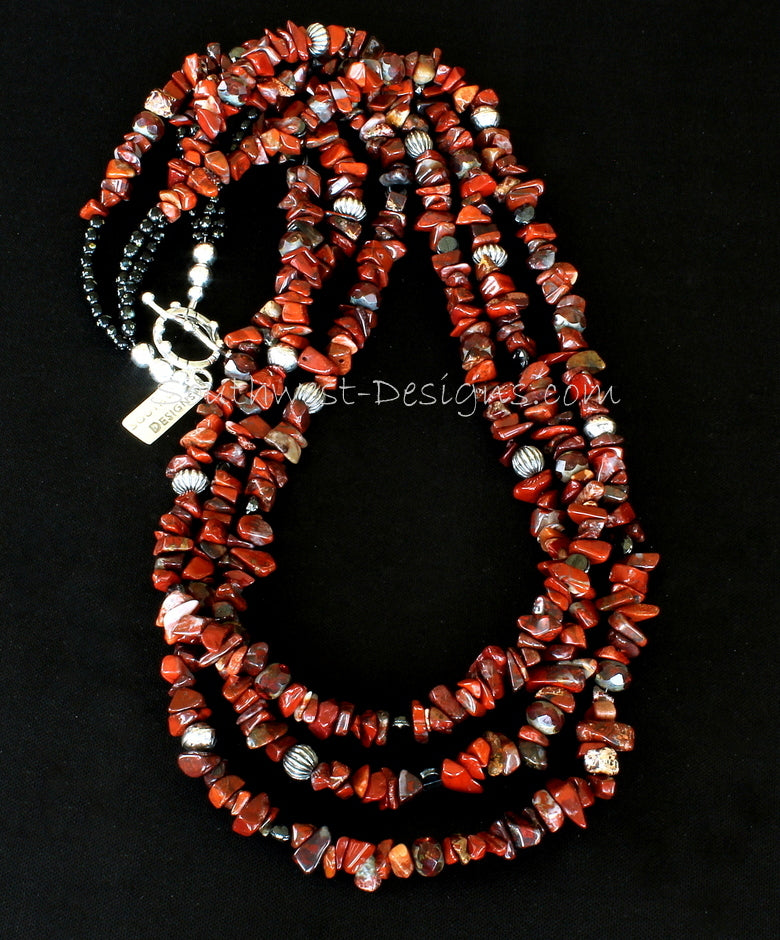 Rainbow Brecciated Jasper 3-Strand Necklace with Czech Luster Glass, Obsidian Rounds, Fire Polished Glass and Sterling Silver