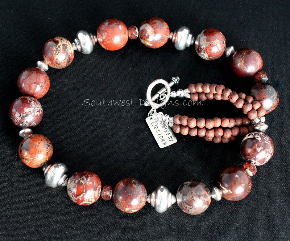Rainbow Brecciated Jasper Rounds with Olive Wood, Czech Glass and Sterling Silver Urn Beads