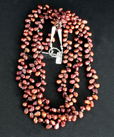 Red-Bronze Nugget Pearl 3-Strand Necklace with Firepolished Glass & Sterling Silver