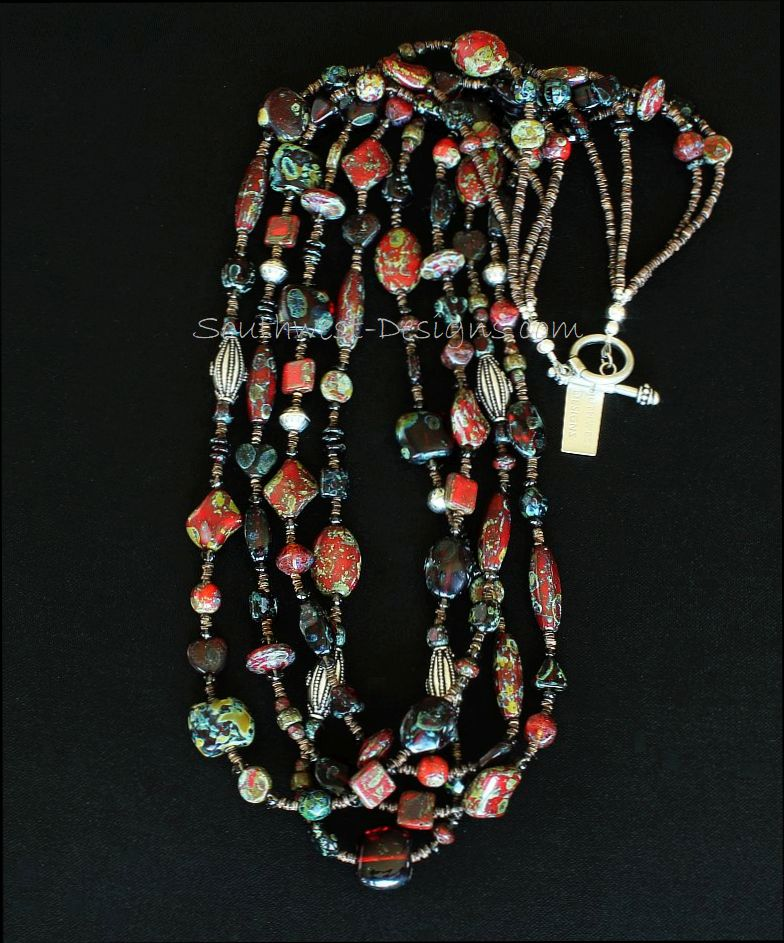 Red Art Glass 4-Strand Necklace with Smoky Quartz, Olive Shell Heishi and Sterling