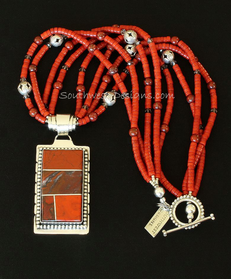 Red Jasper and Sterling Silver 4-Stone Inlaid Pendant with Coral Heishi and Sterling Silver