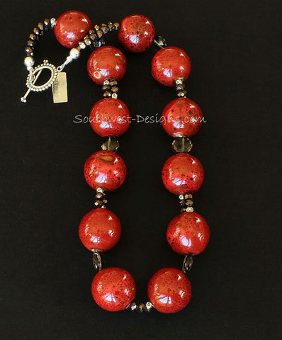 Red Porcelain Rounds 12-Bead Necklace with Smoky Quartz and Sterling Silver