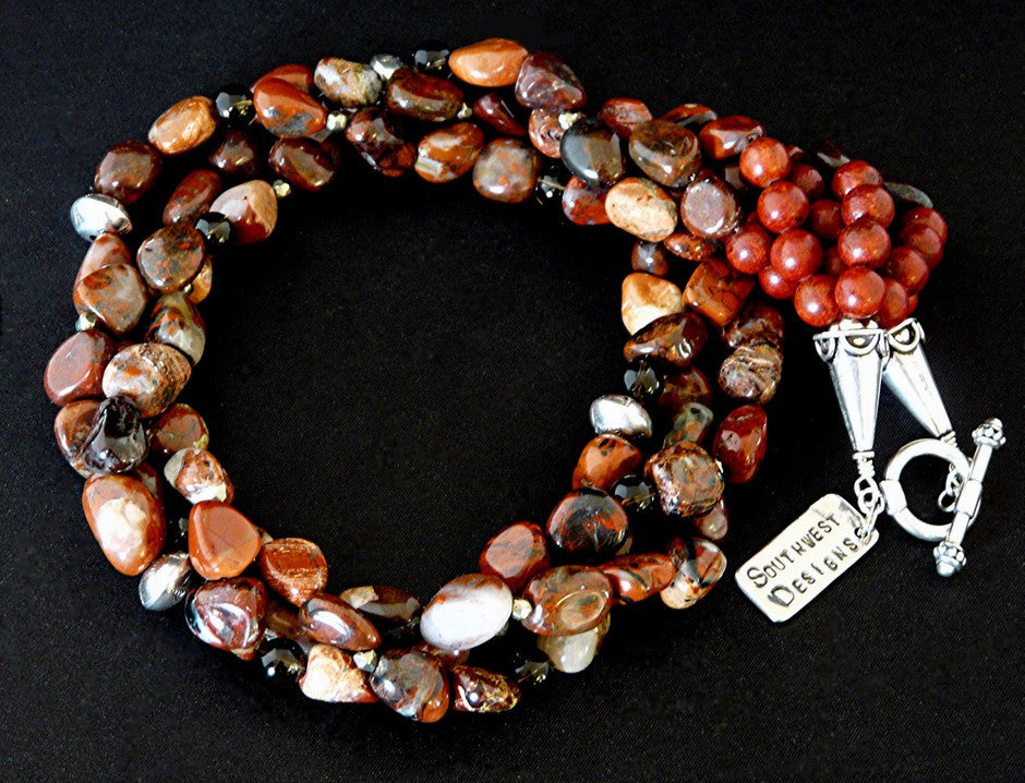Red Agate 3-Strand Twist Necklace with Pyrite, Smoky Quartz and Sterling