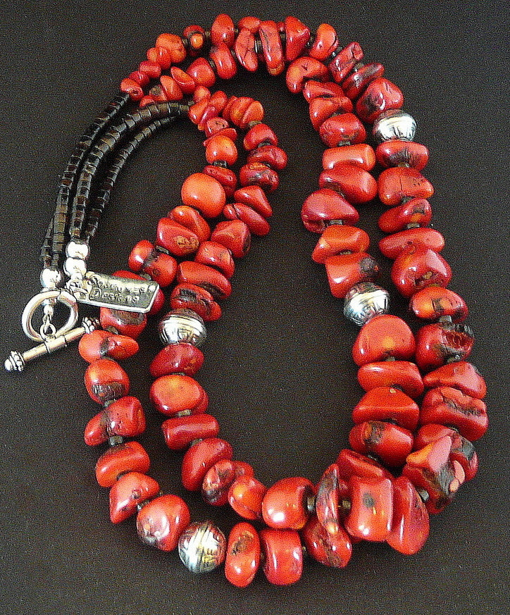 2-Strand Graduated Coral Nugget Necklace with Pen Shell Heishi and Stamped Sterling Silver Beads