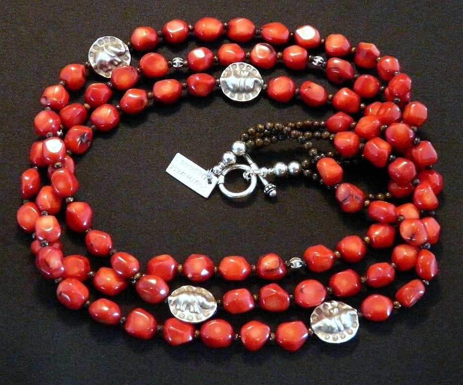 Red Coral Nugget 3-Strand Necklace with Bronzite, Bone and Sterling Silver