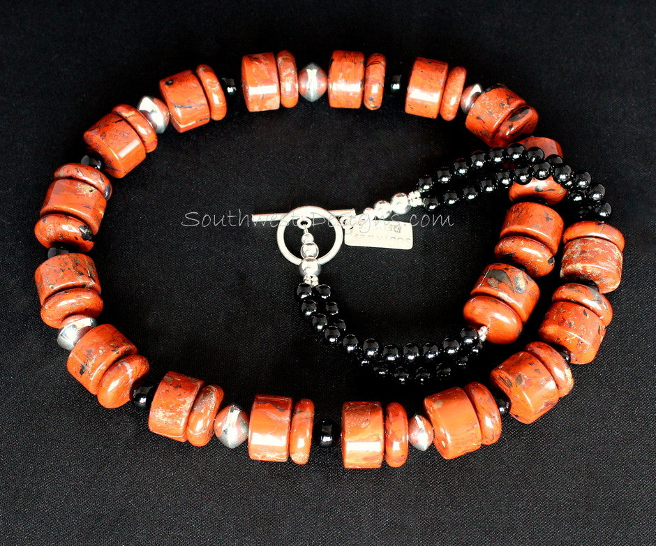 Red Jasper Rondelle Bead Necklace with Black Onyx Rounds and Sterling Silver Beads and Toggle Clasp