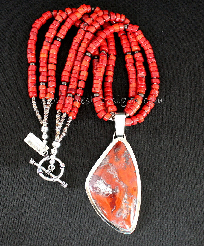 Red Jasper & Sterling Silver Pendant with 3 Strands of Bamboo Coral, Smoke-Colored Pearls, Olive Shell Heishi and Sterling