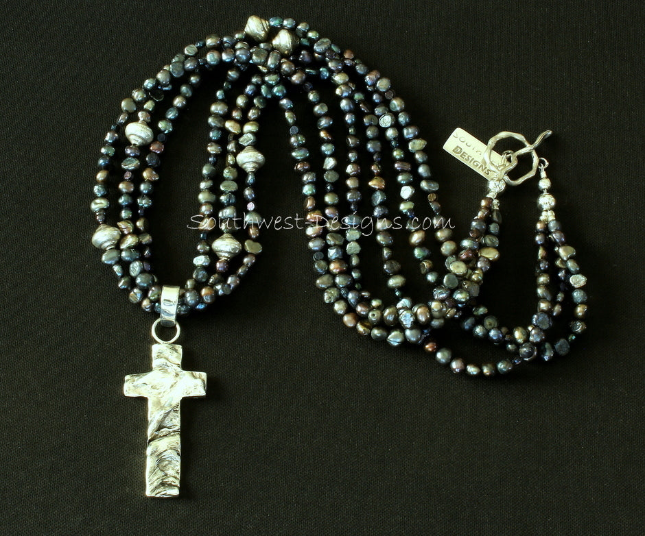 Reticulated Silver & Sterling Silver Cross with 3 Strands of Black Nugget Pearls and Sterling Silver