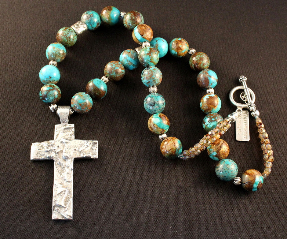 Sterling Silver and Reticulated Silver Cross Pendant with Kingman Boulder Turquoise Rounds, Czech Fire Polished Glass and Sterling