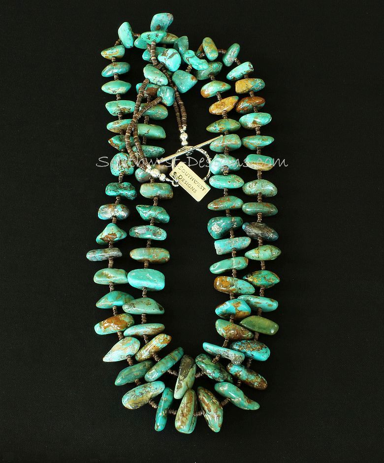 Royston Turquoise Large Nugget 2-Strand Necklace with Sterling