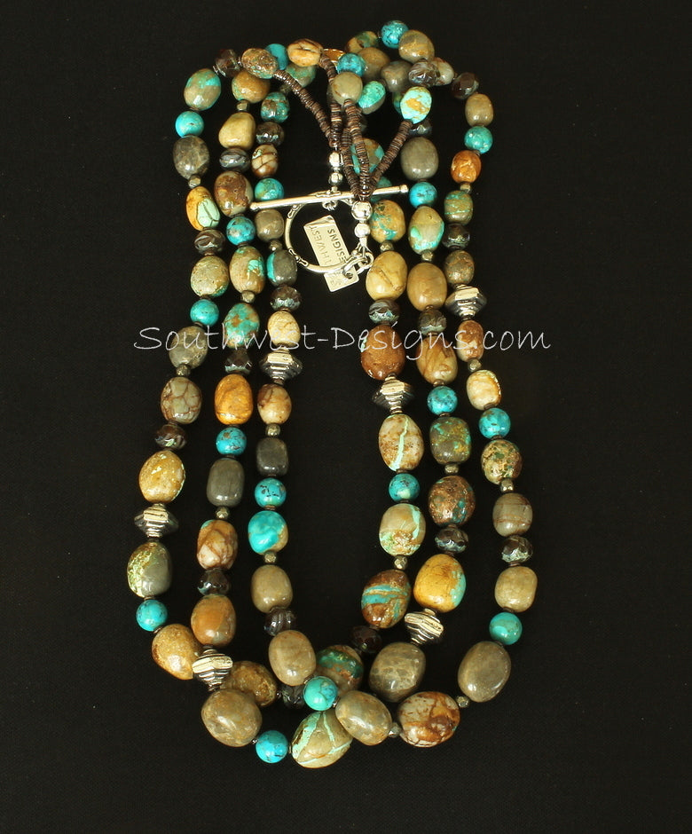 Royston Boulder Turquoise 3-Strand Necklace with Czech Luster Glass and Sterling Silver