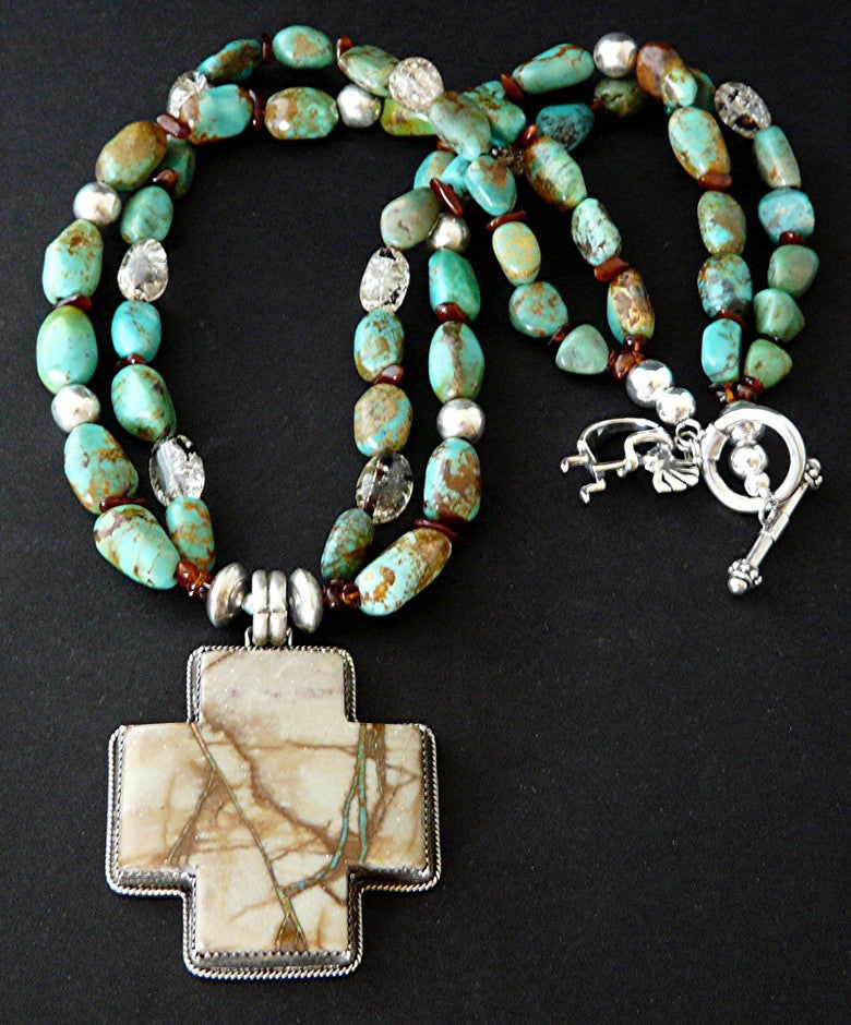 Royston Ribbon Turquoise and Sterling Silver Cross with Kingman Turquoise, Quartz and Sterling