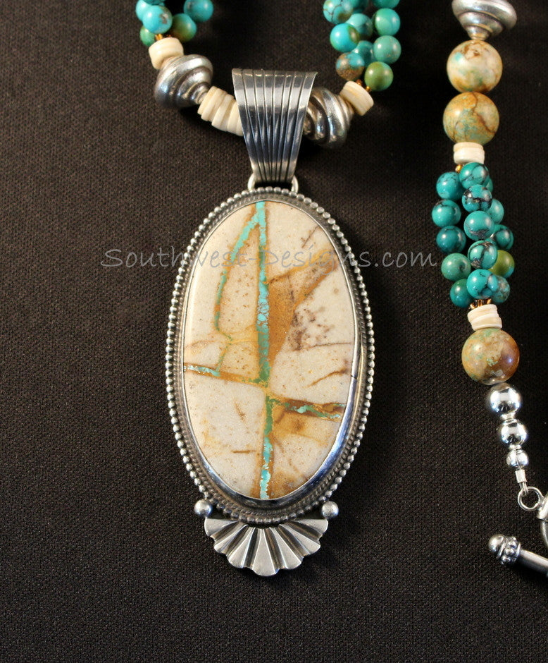 Royston Ribbon & Sterling Pendant with Royston Boulder Turquoise and Sterling
