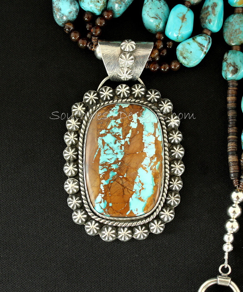 Royston Ribbon and Sterling Silver Concho Button Pendant with 3 Strands of Turquoise, Amber Quartz, Black Agate & Sterling
