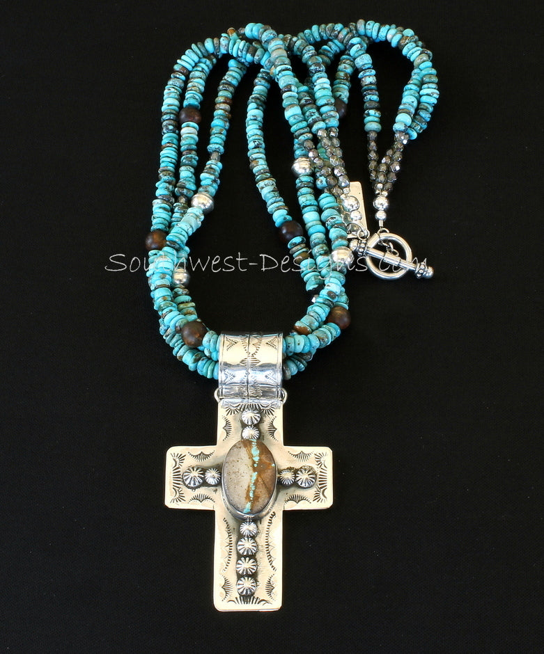 Royston Ribbon Turquoise and Sterling Silver Cross Pendant with 3 Strands of Turquoise Rondelles, Amber Quartz, Fire Polished Glass and Sterling Silver