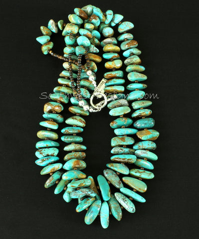 Royston Turquoise Large Nugget 2-Strand Necklace with Bone Beads and Sterling Silver
