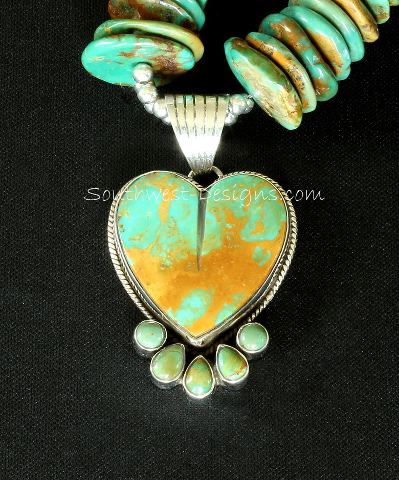 Royston Turquoise and Sterling Silver Heart Pendant with Graduated Royston Turquoise Disc