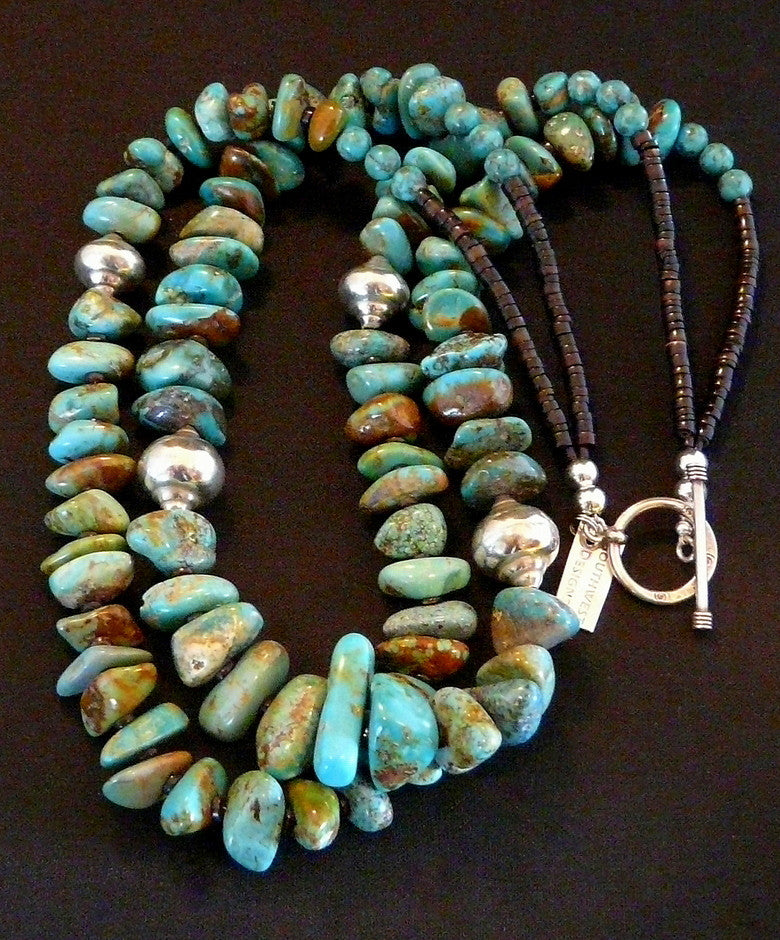 Royston Turquoise 2-Strand Nugget Necklace with Shell Heishi and Sterling Silver