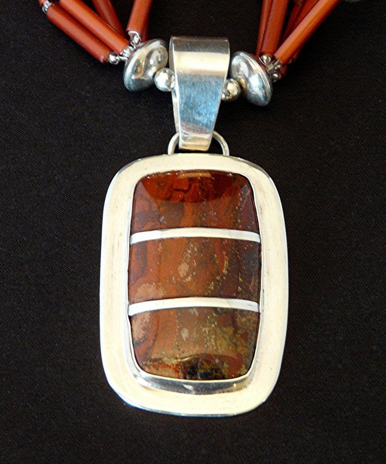 Santa Cruz Jasper and Sterling Inlay Pendant with Antique White Hearts and Sterling