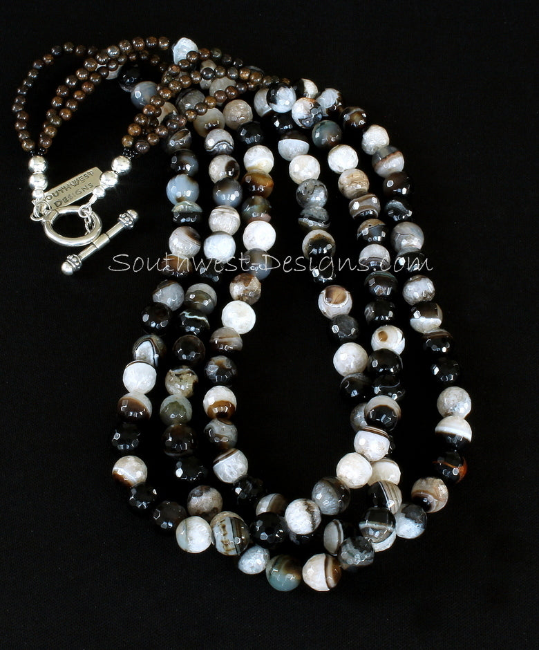 Sardonyx Agate 3-Strand Faceted Round Bead Necklace with Bronzite Rounds and Sterling Silver