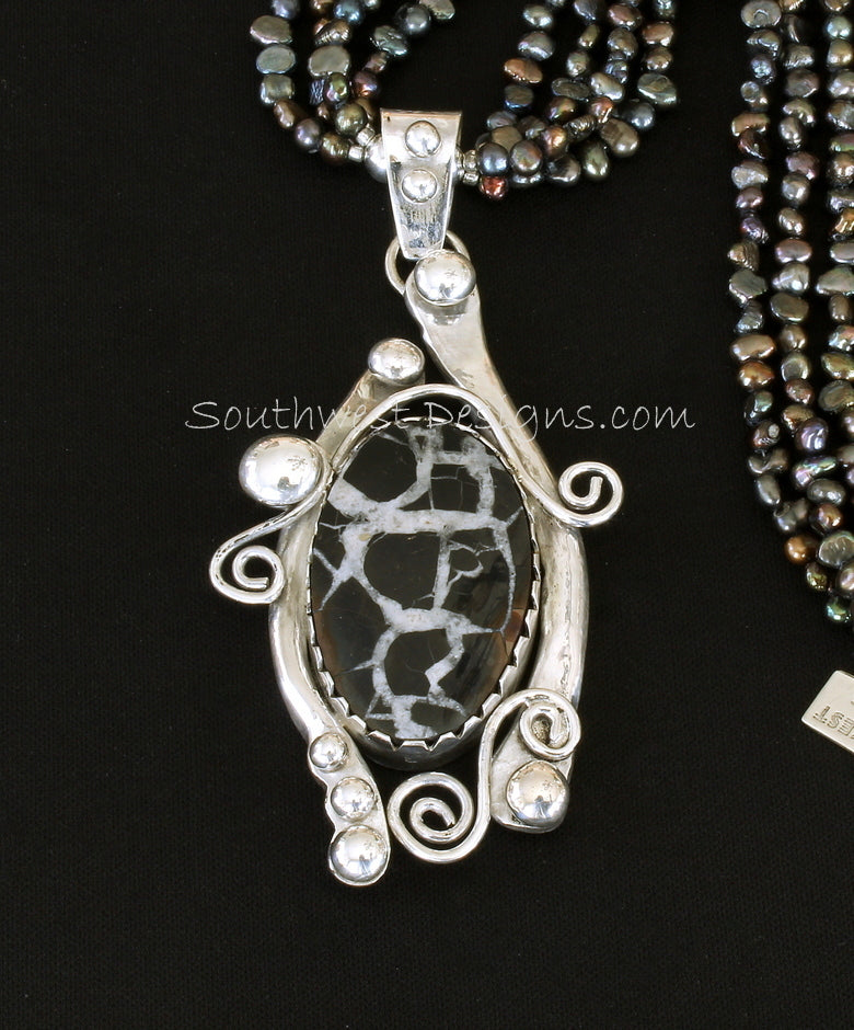 Septarian Nodule and Sterling Silver Art Pendant with 4 Strands of Black Nugget Pearls and Sterling Silver