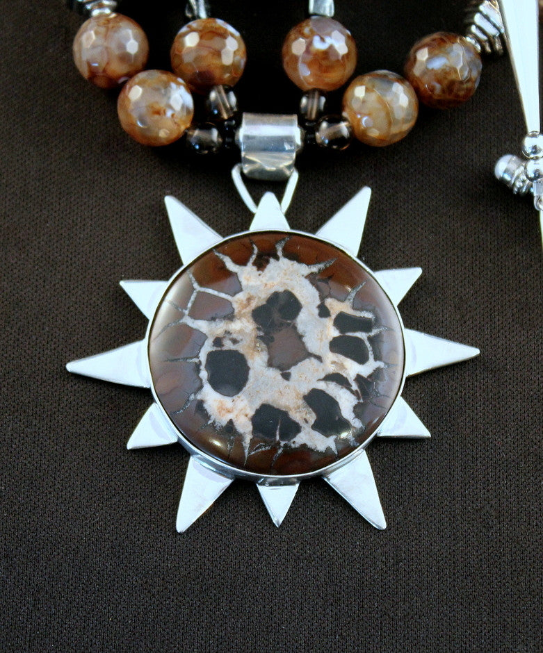 Septarian Nodule and Sterling Silver Pendant with Brown-Multi Faceted Glass and Sterling
