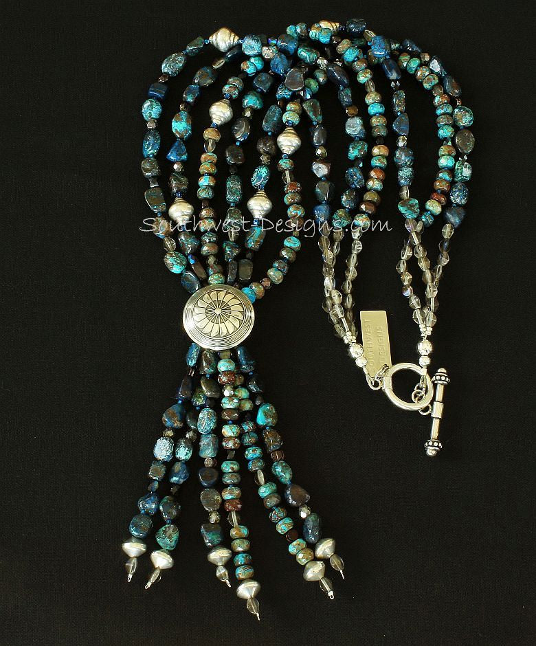 Shattuckite Pebble & Blue Lace Agate Rondelle Bead 3 Strand Necklace with Sterling Button Cover Jacla