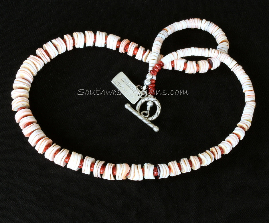 Cream and Pink Shell Heishi Graduated Necklace with Spiny Oyster Shell Rondelles and Sterling Silver