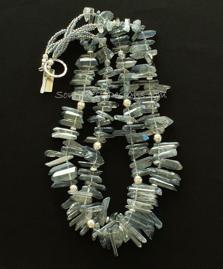 Silver Crystal Spike Necklace with Sterling Silver Discs, Rounds and Toggle Clasp