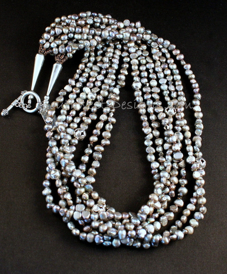 Silver Nugget Pearl 7-Strand Necklace with Olive Shell Heishi and Sterling Silver