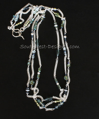 Silverplate Curb Chain 3-Strand Necklace with Czech Glass, Fire Polished Glass, Swarovski Crystal, and Sterling Silver Rounds, Bicones and Toggle Clasp