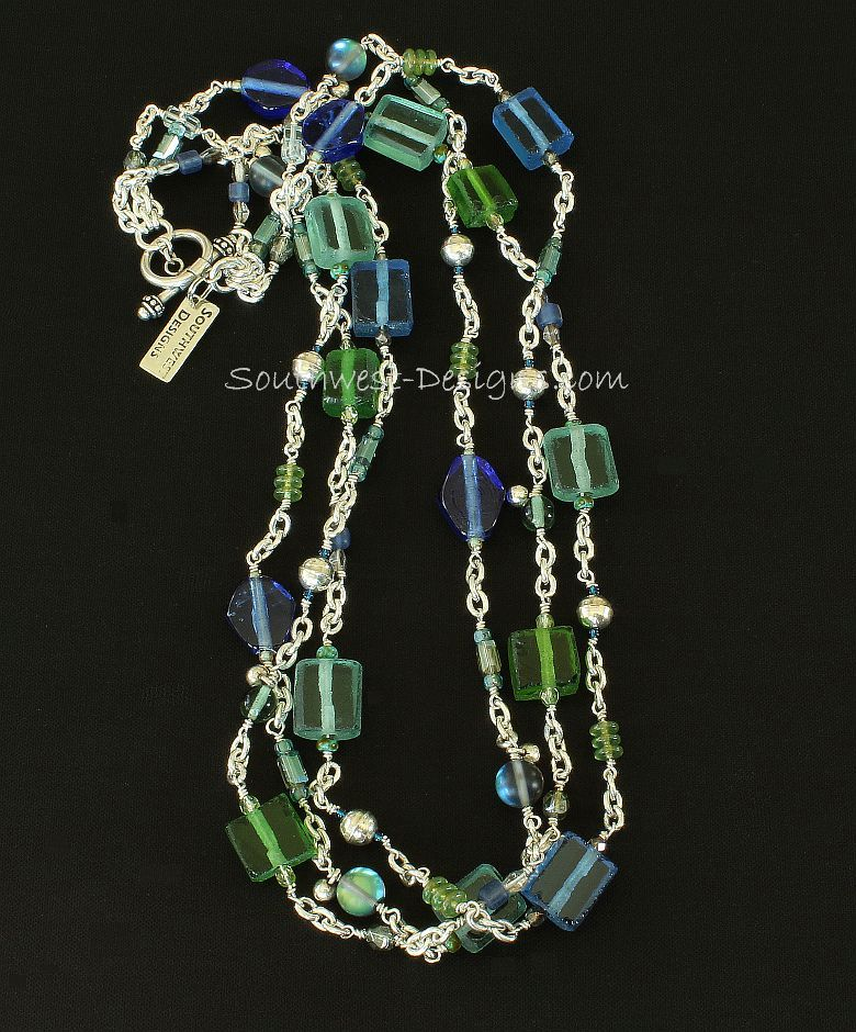 3-Strand Silver Cable Chain Necklace with Art Glass and Sterling Silver
