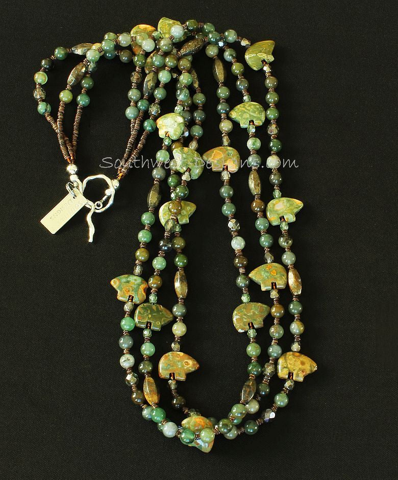 Jade Rounds 3-Strand Necklace with Unakite Bear Amulets, Pyrite Cylinders, Fire Polished Glass and Sterling Silver