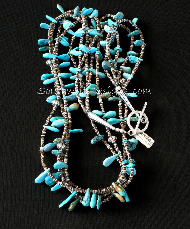 Sleeping Beauty Turquoise and Oyster Shell Heishi 3-Strand Necklace with Sterling Silver