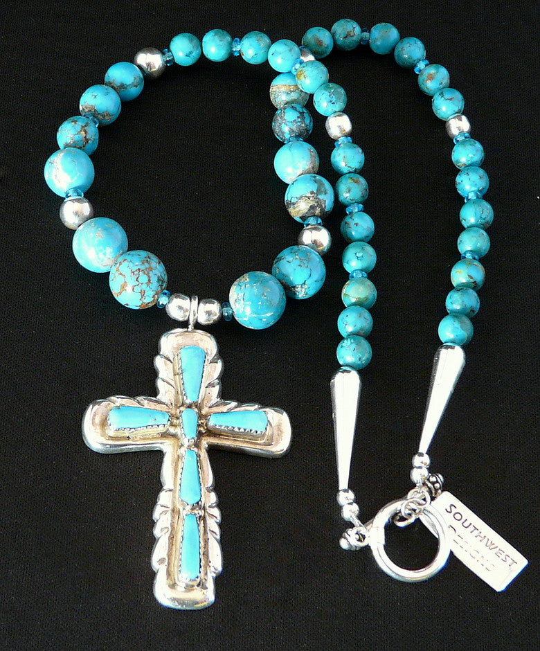 Sleeping Beauty Turquoise and Sterling Silver Cross with Graduated Turquoise Rounds and Sterling