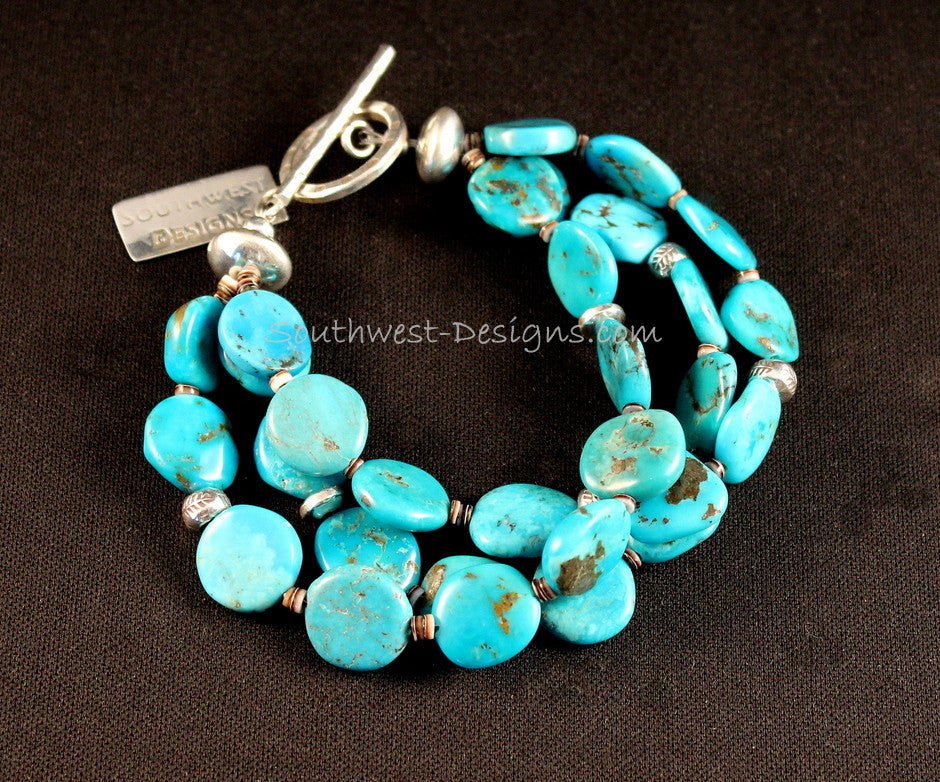 3-Strand Sleeping Beauty Turquoise Bracelet with Sterling