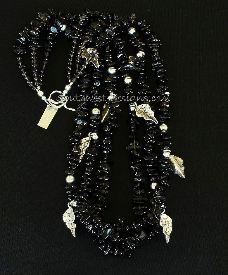 Smoky Quartz Chip 3-Strand Necklace with Sterling Silver
