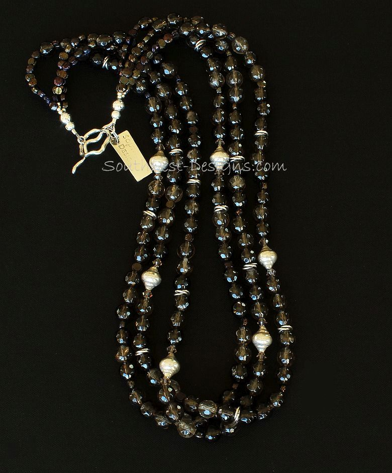 Smoky Quartz Faceted Rounds 3-Strand Necklace with Sterling Silver