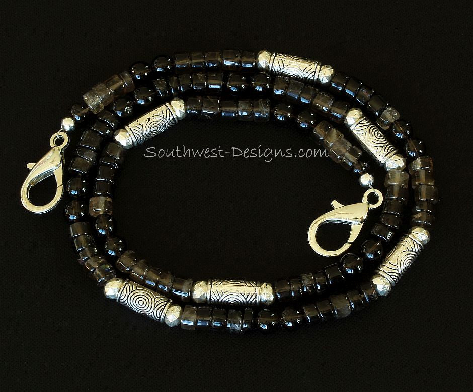 Shaded Smoky Quartz Tyre Bead Mask Lanyard with Smoky Quartz Rounds and Ornate Plated Silver