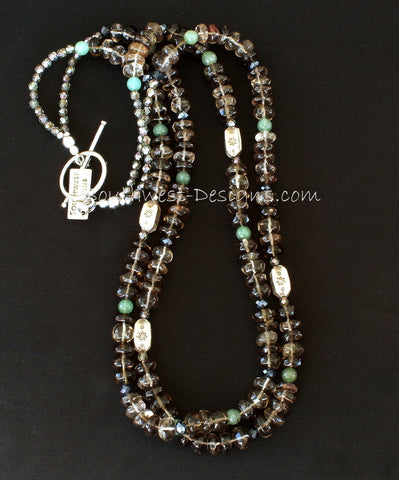 Smoky Quartz 2-Strand Rondelle Bead Necklace with Aventurine, Fire Polished Glass and Sterling Silver