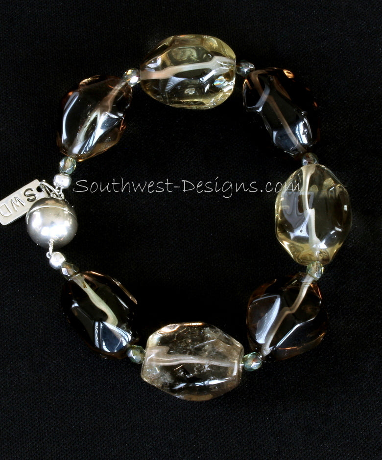 Smoky Quartz Faceted Oval Bracelet with Fire Polished Glass and Sterling Silver Magnet Clasp