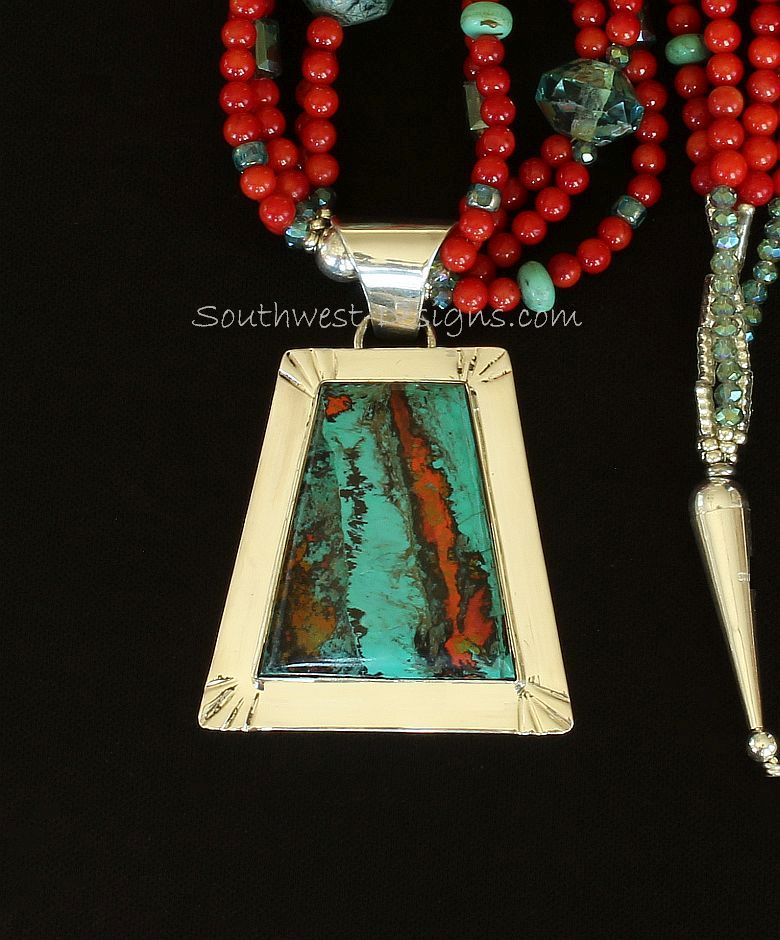 Sonora Sunset & Sterling Silver with Coral, Turquoise, Czech & Fire Polished Glass and Sterling Silver