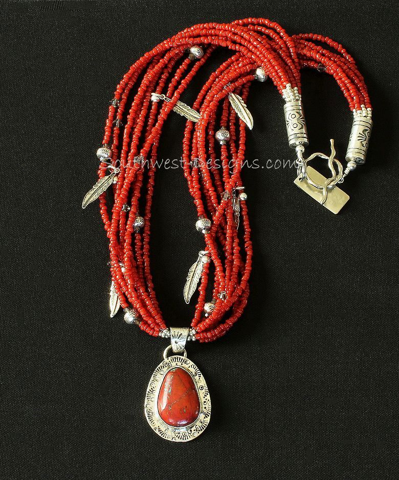 Sonora Sunset and Sterling Silver Pendant with 8 Strands of Red Pote Beads and Sterling