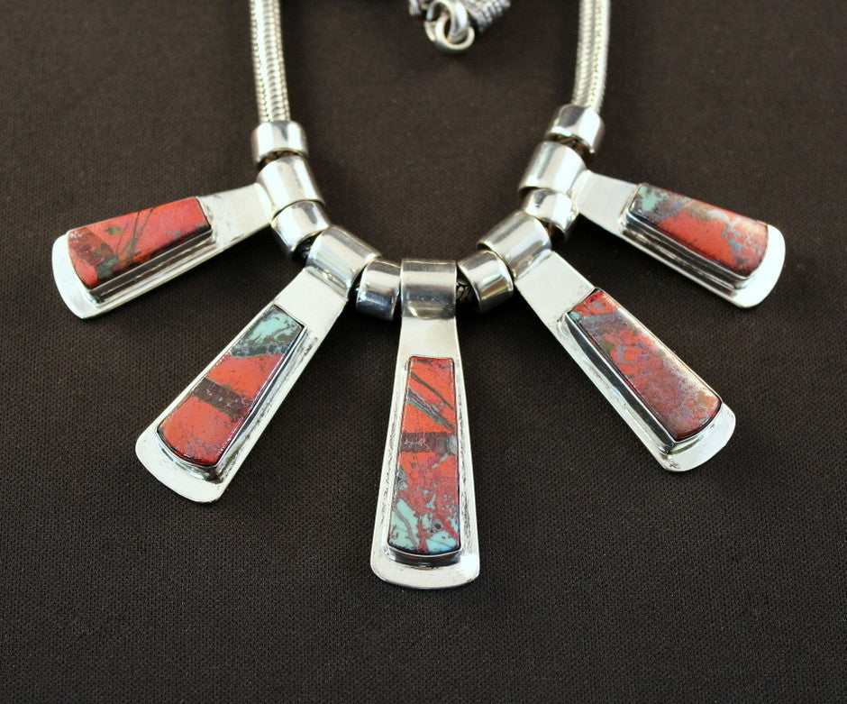 Sonora Sunset and Sterling Silver 5-Pendant Bib Necklace