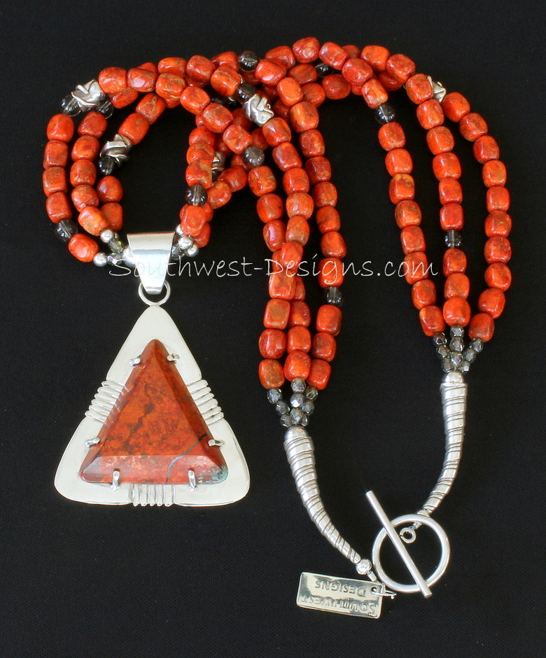 Sonora Sunset and Sterling Silver Post-Set Pendant with 3 Strands of Apple Coral, Smoky Quartz, Fire Polished Glass and Sterling