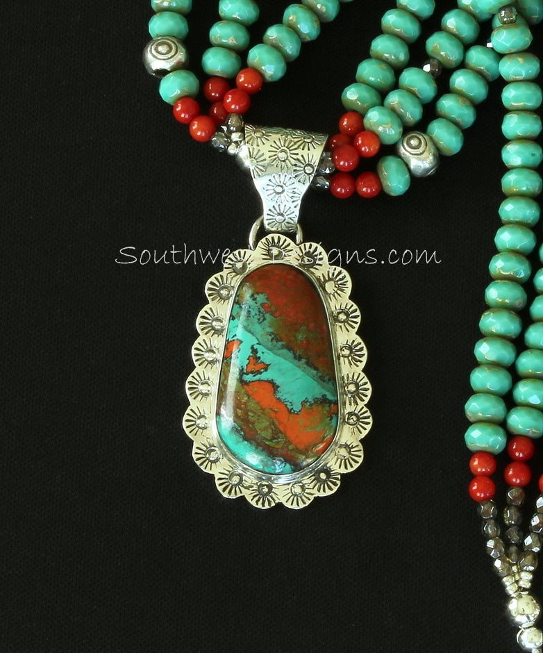 Sonora Sunset and Sterling Silver Ornate Pendant with 3 Strands of Czech Glass Rondelles, Coral and Sterling Silver
