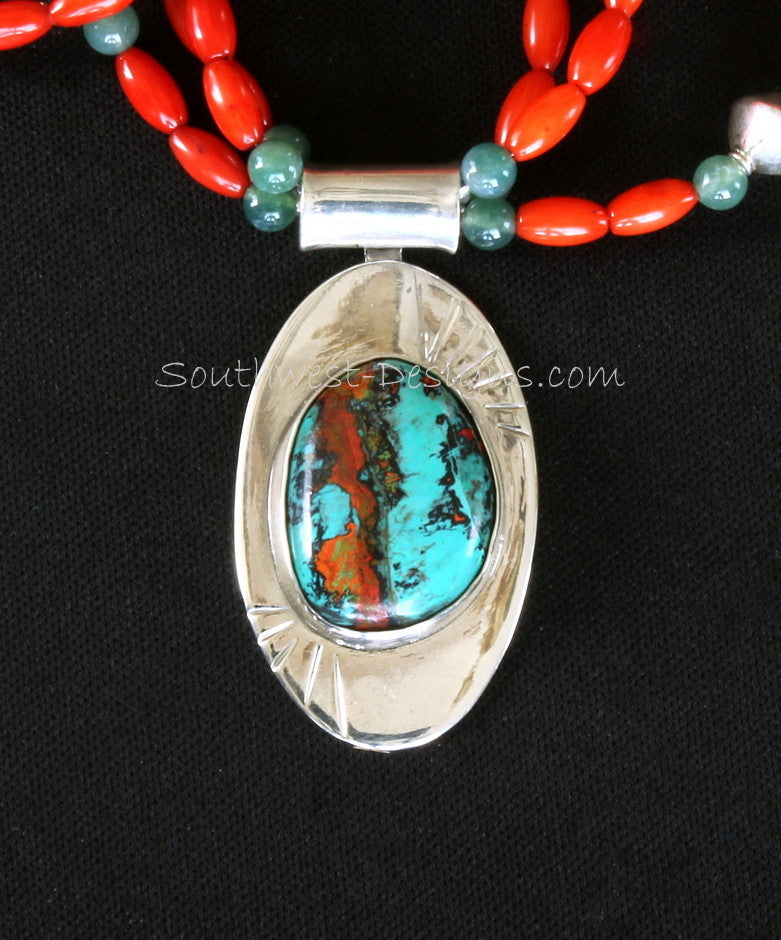 Sonora Sunset and Sterling Silver Oval Pendant with 3 Strands of Bamboo Coral Ovals, Moss Agate Rounds and Sterling Silver